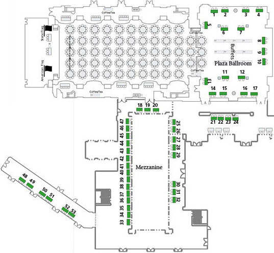Map of Plaza Hotel second floor rooms and exhibitor booth locations